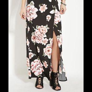Forever 21 floral side slit maxi skirt